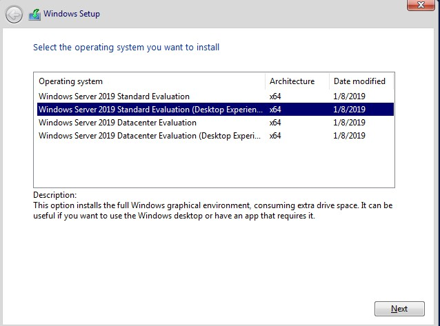 Installing Server 2019 Desktop Experience with a Volume